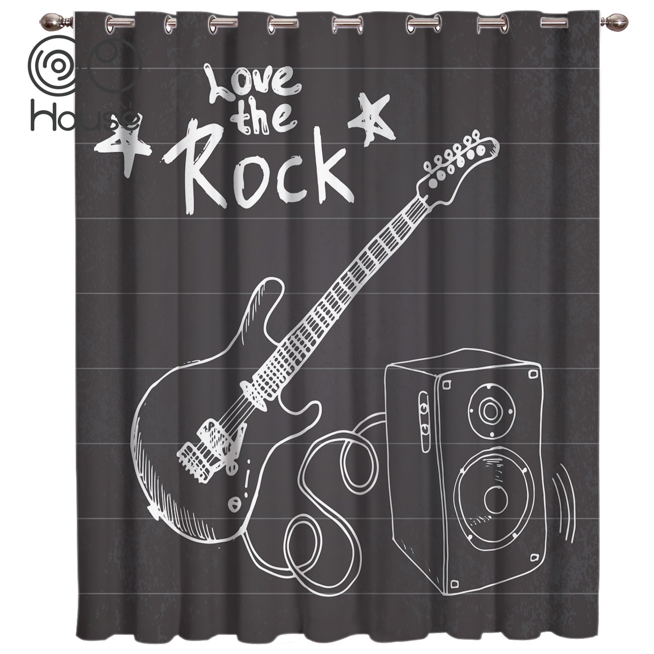 COCOHouse Blackboard Rock Music Curtain Lights Living Room Blackout Bathroom Bedroom Indoor Fabric Decor Kids Outdoor Curtains