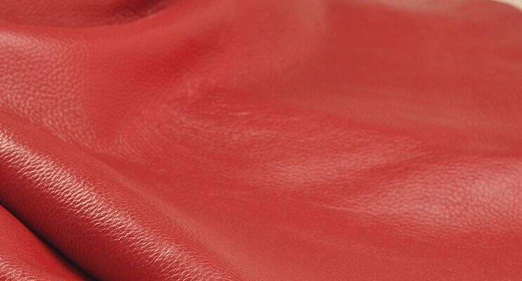 red soft Genuine lichi texture cow leather whole piece