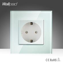 16A EU Socket Wallpad White Crystal Glass EU European German Standard Wall Socket Free Shipping