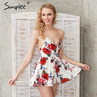 Simplee Summer Beach Boho Floral Print Overalls Backless Sexy Bodysuit Women Jumpsuit Romper Club White Chifon