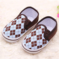 2017 Fashion Plain Baby Boys First Walkers Shoes Soft Sole Baby Walkers Shoes Indoors Plaid Infant Shoes Slip on Baby Shoes