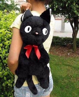 Black Cat jiji Backpack Plush Bag 50CM 20inch  75CM  25inch Gift Toy