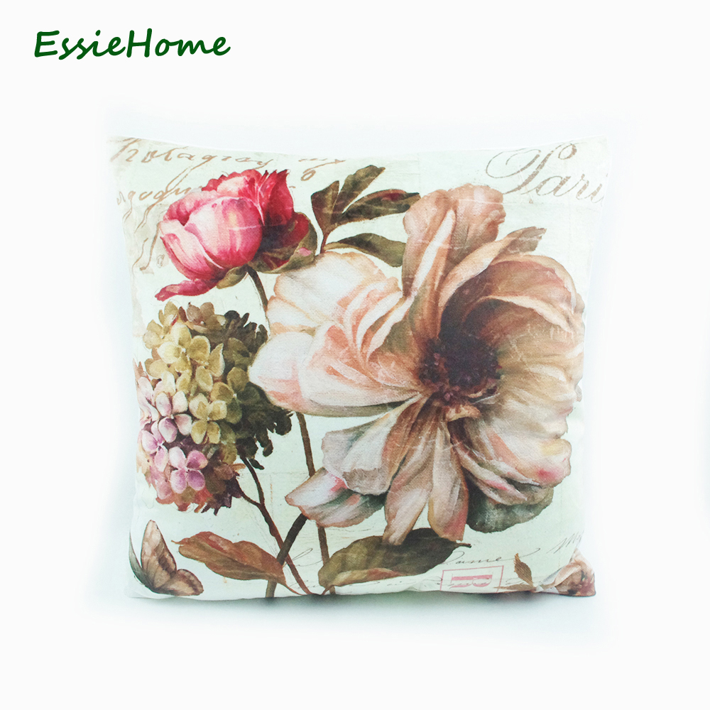 ESSIE HOME Soft High End Velvet Digital Print Vintage Rose Hydrangea Floral  Old Pattern Cushion Cover Pillow Case Throw 18x18