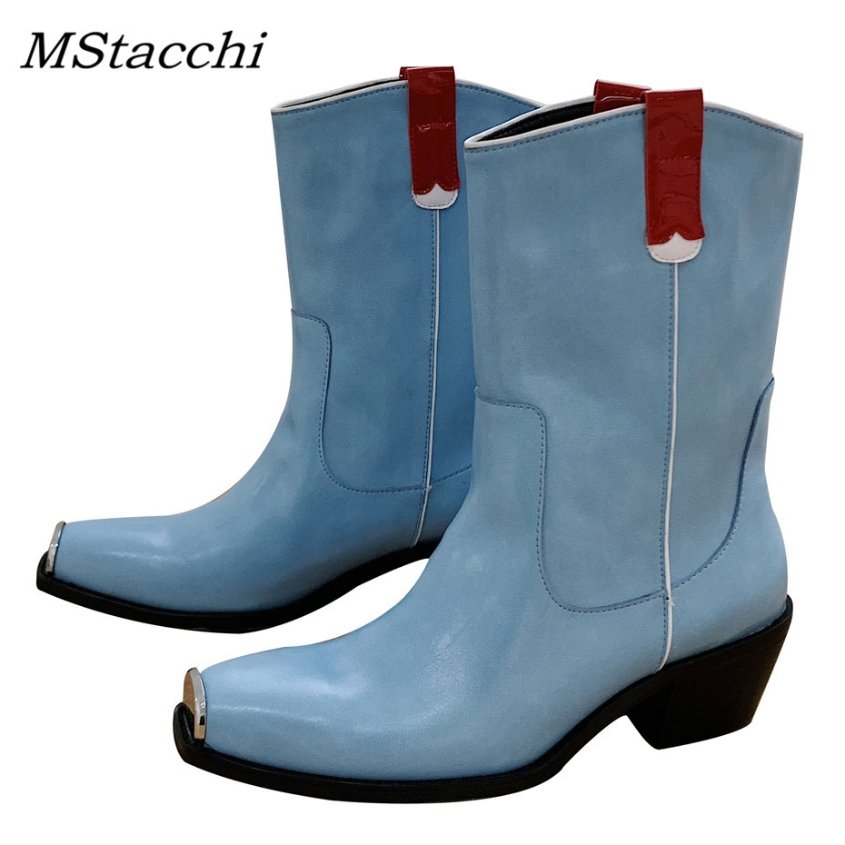 Gattino Quadrato Pelle Punta Più Scarpe Stivali Inverno bianco Azzurro Di  Modo Donne Nuovi Metallo In ... 9b1fd105171