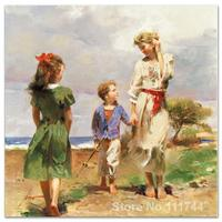 Beautiful painting mother and children Seaside Retreat Pino Daeni art for sale High quality Hand painted