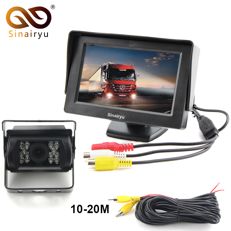 Sinairyu DC 12~24V Truck Bus Parking Camera Monitor System, 4.3 Car Monitor With Rear View Camera 15M 20M RCA Video Cable 18 ir reverse camera new 7 lcd monitor car rear view kit car camera bus and truck parking sensor camera 15m or 20m cable