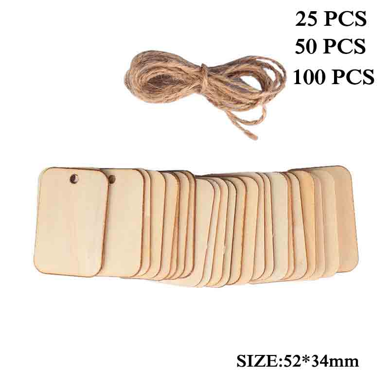 50pcs Christmas Tree Ornament Wooden Planks Tags Pendants Unfinished Slices For DIY Table DIY Arts Craft Decoration