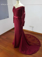 Long Sleeves Mermaid Bridesmaid Dresses 2016 Dark Red Burgundy Lace Off Shoulder Beads Maid Of