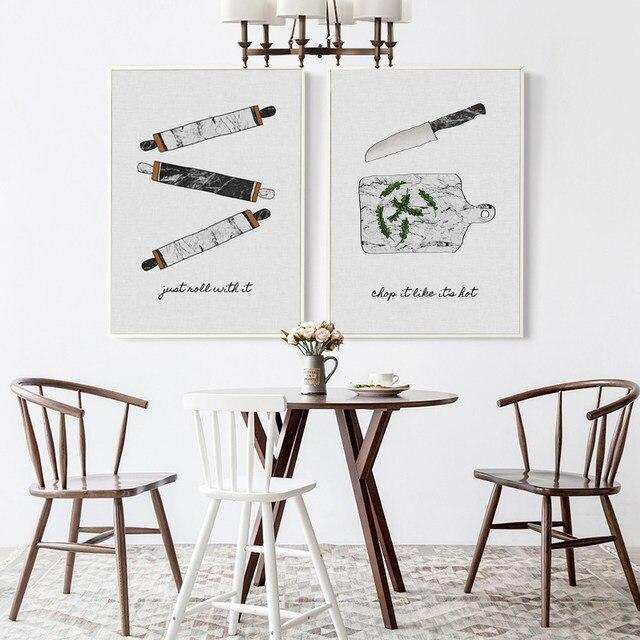 Bianche Nordic Minimalis Peralatan Dapur Dekoratif Lukisan Dinding Kanvas Art Print Poster Gambar Untuk Rumah Deco