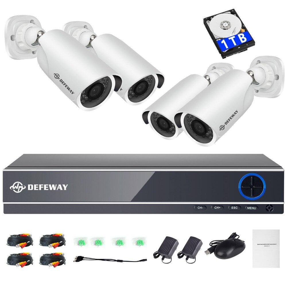 DEFEWAY 1080 P HD 2000TVL Открытый безопасности Камера Системы HDMI CCTV видеонаблюдения 8CH DVR Kit 1 ТБ HDD AHD 4 Камера новый комплект