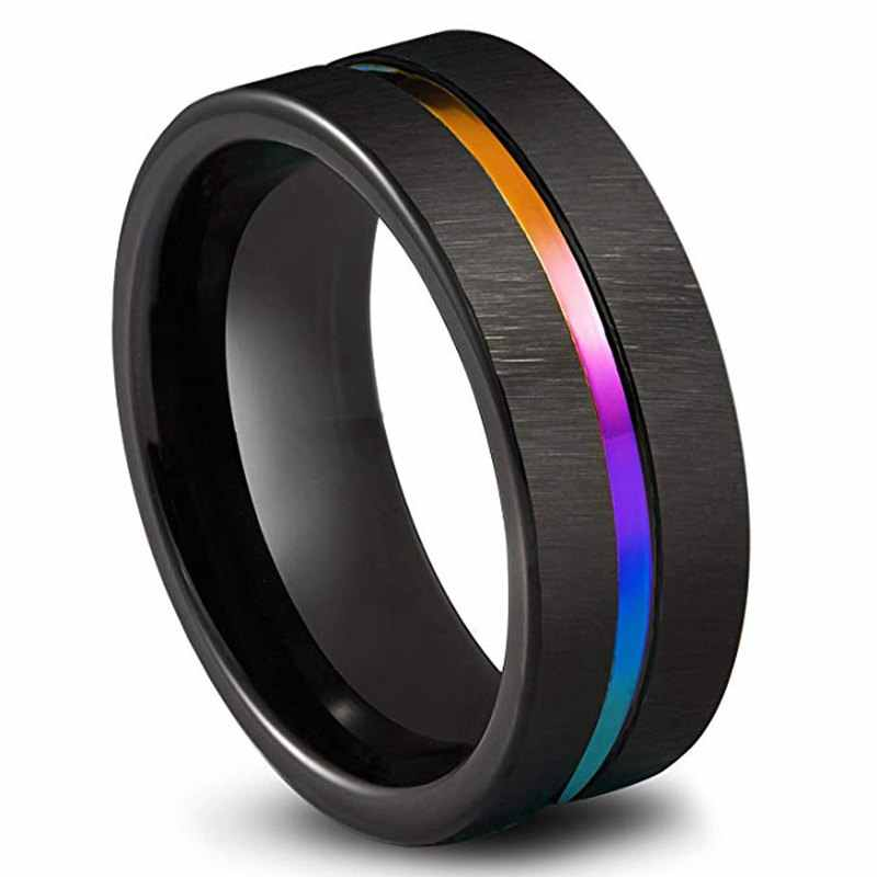 Black Titanium Stainless Steel Simple Ring Wedding Band 8mm Colorful Rainbow Couple Ring