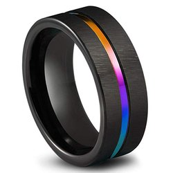 Czarna tytanowa stal nierdzewna prosty pierścień obrączka 8mm kolorowa tęcza para pierścień