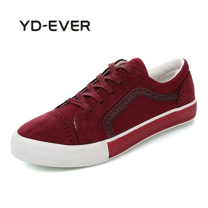 YD-EVER 2018 Womens Canvas Flat Shoes Fashion New Lace Up Women Sneaker Woman Casual Comfortable Flats Footwear Tenis Feminino