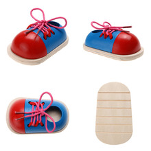 1pcs Kids Montessori Educational Toys Children Wooden Toys Toddler Lacing Shoes Early Education Montessori Teaching Aids