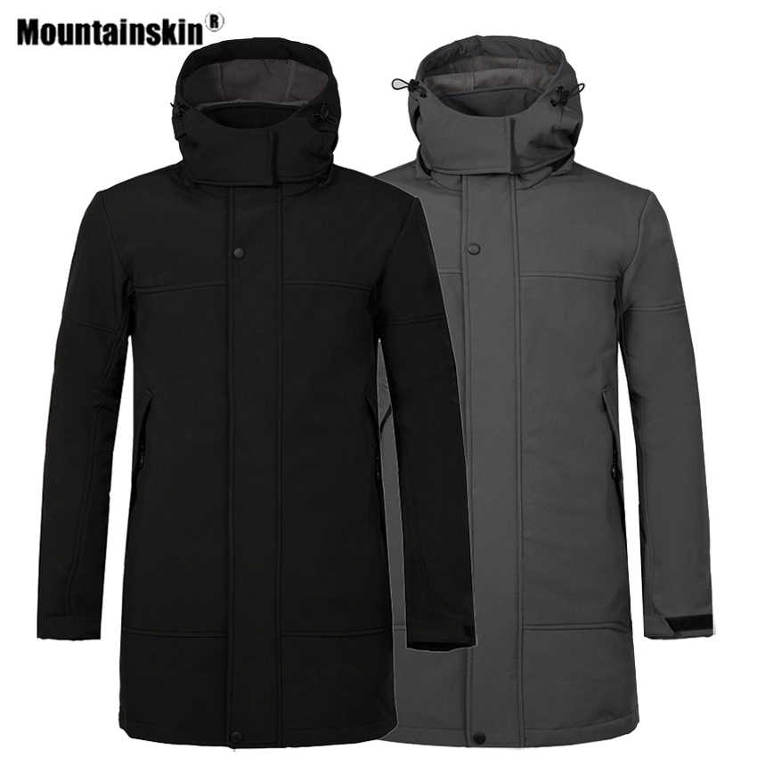 Mountainskin الشتاء الرجال سوفتشيل جاكيت من الصوف في الهواء الطلق سترة واقية طويلة المشي التخييم الرحلات تزلج تسلق الذكور معطف VA328