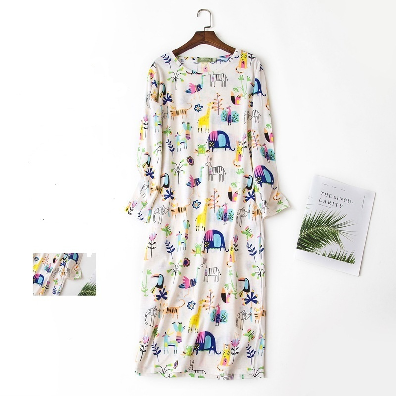 Autumn Winter Nightdress Cartoon Sexy Nightgowns Women Sleepshirts 100% Brushed Cotton Fresh Simple Women Sleepwear