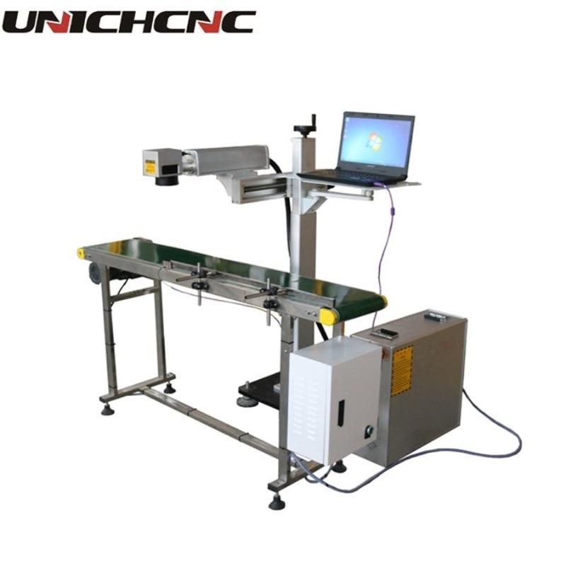 UNICH ЧПУ Летающий on line лазерная маркировочная машина с конвейера