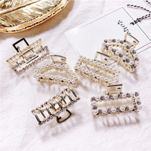 Elegance Crystal Hair Accessories For Girls  Rectangle Shaped Hairpin Handmade Clips Pearl Geometric Claws