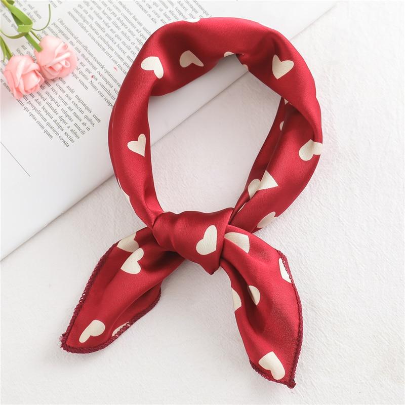 Silk Scarves Handkerchief Bandana Foulard Satin Square Neck Print Office Small-Size Fashion