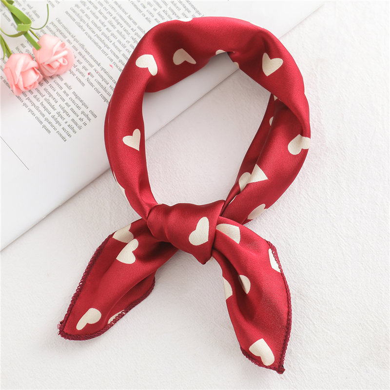 2019 small size women   scarf   fashion print silk   scarves   square neck office Satin Handkerchief Bandana foulard