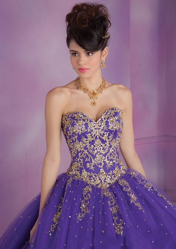 Purple and Gold Masquerade Dresses