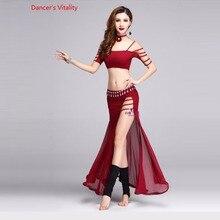 Nueva ropa de danza del vientre sexy media manga top + vestido largo 2 uds conjunto de danza del vientre para mujeres ropa de danza del vientre