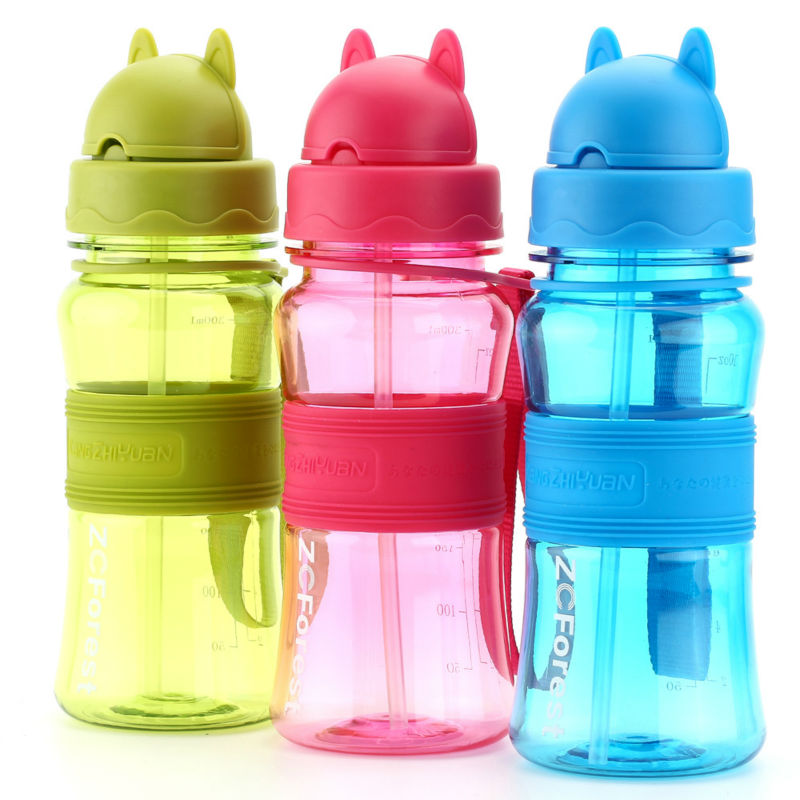 430ml Sports BPA Free Leak Proof Water Bottle with Flip Cap and Built in Straw