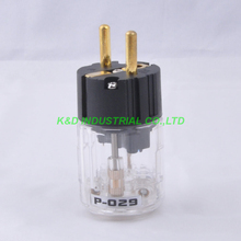 цена на 2pcs Audio AMP EUR Schuko AC Power Plug Male Plug Polish Brass Transparent P029
