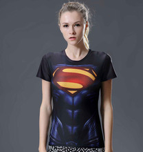 women superhero 3d t shirt marvel short sleeve compression breathable quick dry t shirt elastic fitness Women Tees dropship