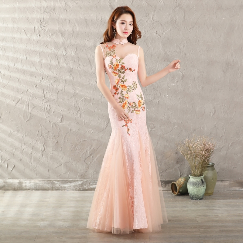 6533669793 Big Discount 2017 Pink Cheongsam Sexy Long Qipao Chinese Traditional Dress  Classic Women Dress Evening Dresses Robe Orientale For Sale at AliExpress