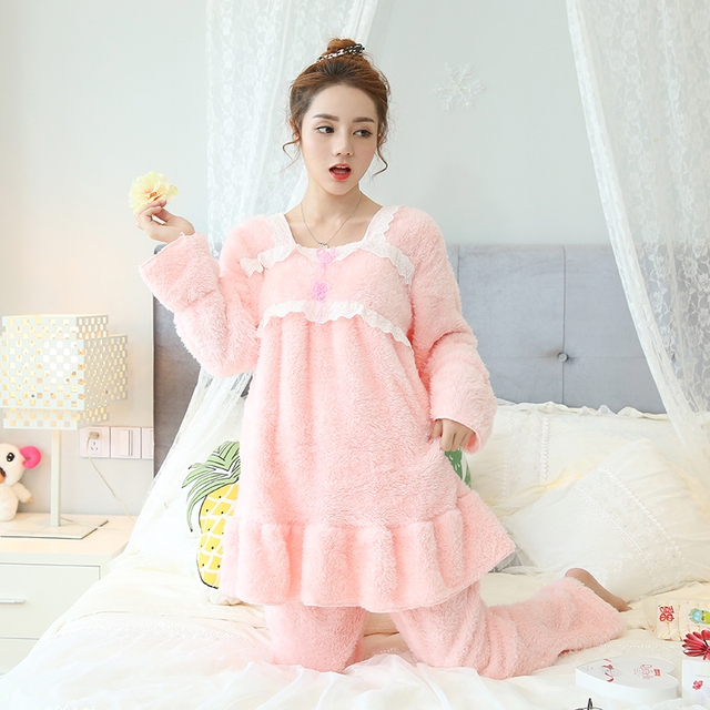 New coral velvet pajamas women autumn and winter Korean long-sleeved thick flannel lady cartoon sweet home service