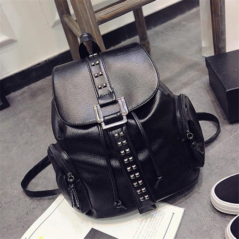 NEW Simple Designer Small Backpack Women Black Travel PU Leather Backpacks Ladies Fashion Female Rucksack Back