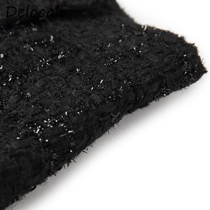 La Delocah Diseño De Mujeres Vintage Slim Falda Moda Recta longitud Hermoso Impreso Nuevo Botón Otoño Mitad Pista Rodilla Negro Las rAzrZ4q