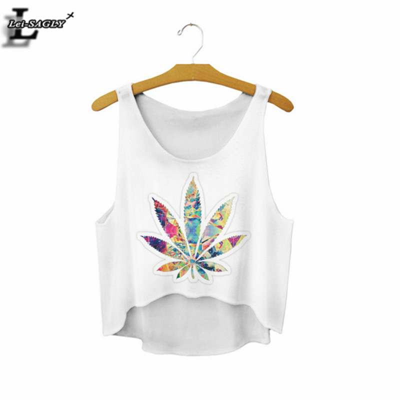 Summer Style Leaf Pattern Casual Alive   Tank     Tops   Sleevelss Women Cropped Cute Fitness Fashion Crop   Tops   Camis Vest F822