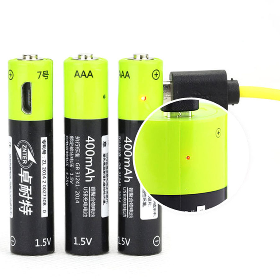 ZNTER 1.5V AAA 400mah Li-polymer Li-ion Lithium Rechargeable Battery USB Battery With USB Charging Line
