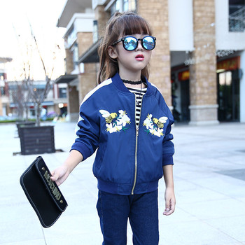 Girls Bomber Jackets Spring Embroidery Floral Nylon Jacket Kids Red Coat For Girls Casual Children Outerwear Embroidery Honeybee 1