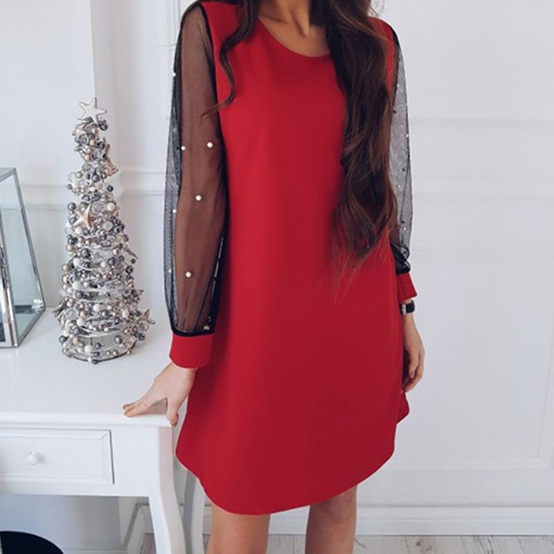 New Fashion Autumn Women Mesh Stitching Straight O-Neck Long Puff Sleeved Dress Casual Loose Beaded Elegant Mini Female Dress