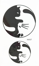 10x6cm Temporary Small Fashion Tattoo Black And White Cute Cats Waterproof Temporary Tattoo Stickers
