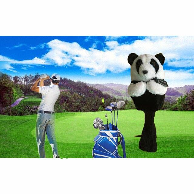 ゴルフアイアンパター保護ヘッドカバーかわいい斑点パンダゴルフクラブヘッドカバーセット