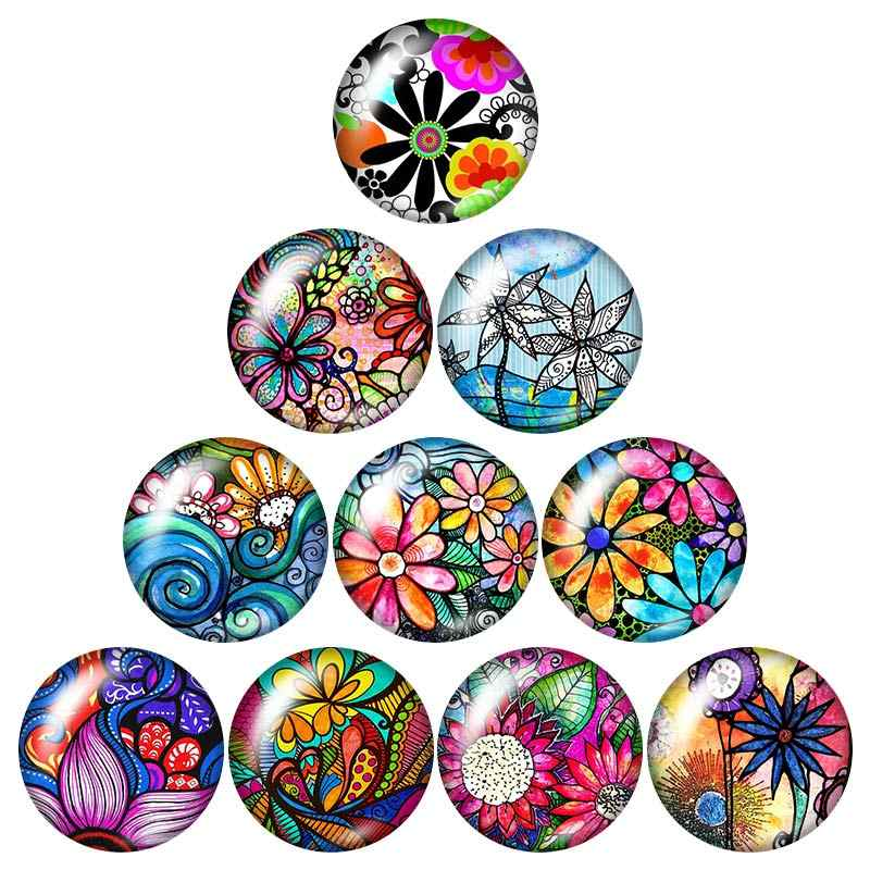 Beauty Colorful Painting flower 10pcs mixed 12mm/16mm/18mm/25mm Round photo glass cabochon demo flat back Making findings ZB0987