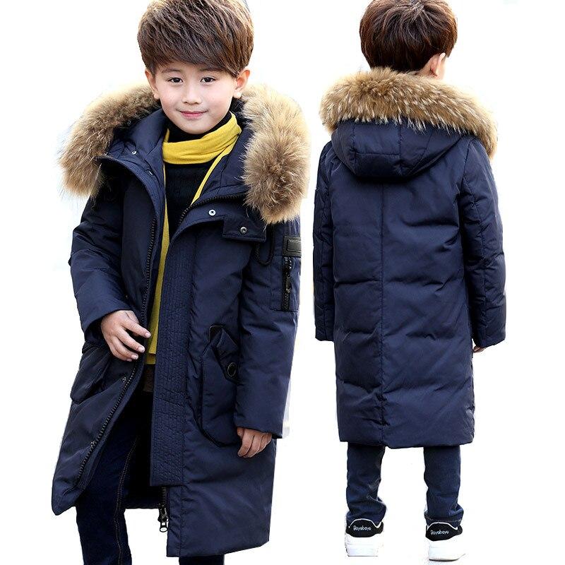 -30 градусов толстые Теплый пуховик куртки зимние для мальчиков и девочек куртка на гусином пуху детская натуральным мехом длинная верхняя о...