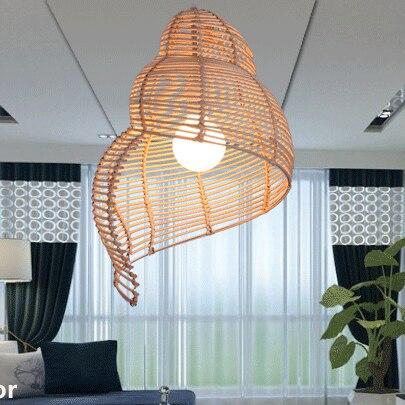 Southeast Asia Rattan Pendant Lights Creative Conch Pendant Lamps For Tea Room Restaurant Coffee Bar Art Deco Lighting Fixtures Pendant Lights