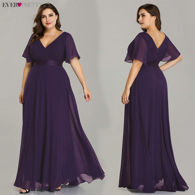 Plus Size Evening Dresses Elegant V-Neck Ruffles Chiffon Formal Evening Gown Party Dress Robe De Soiree 2019 3