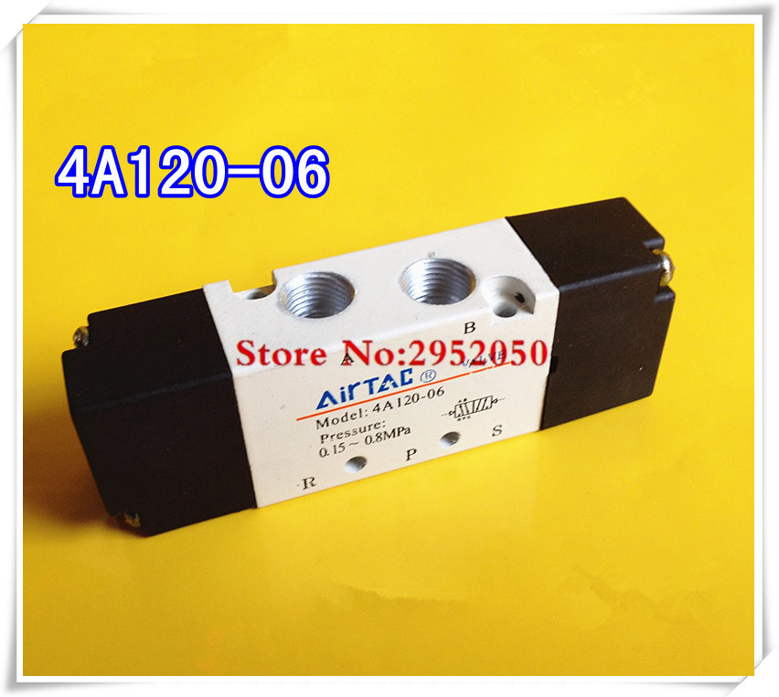 Free shipping 5 Way 2 Position 1/8 inch Pneumatic Airtac Air Control Solenoid Valve 4A120-06 Inlet Outlet Exhaust 1/8 bsp free shipping air solenoid valve 4v330c 10 double coil 3 8 bsp ac110v 5 3 way control valve plug type with red indicator light