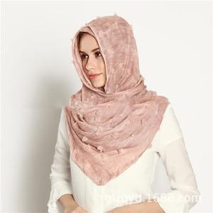 Image 3 - M3 High quality dyed printed crinkle hijab plain viscose scarf hijab shawl women long  scarf/scarves 10pcs   180*90cm