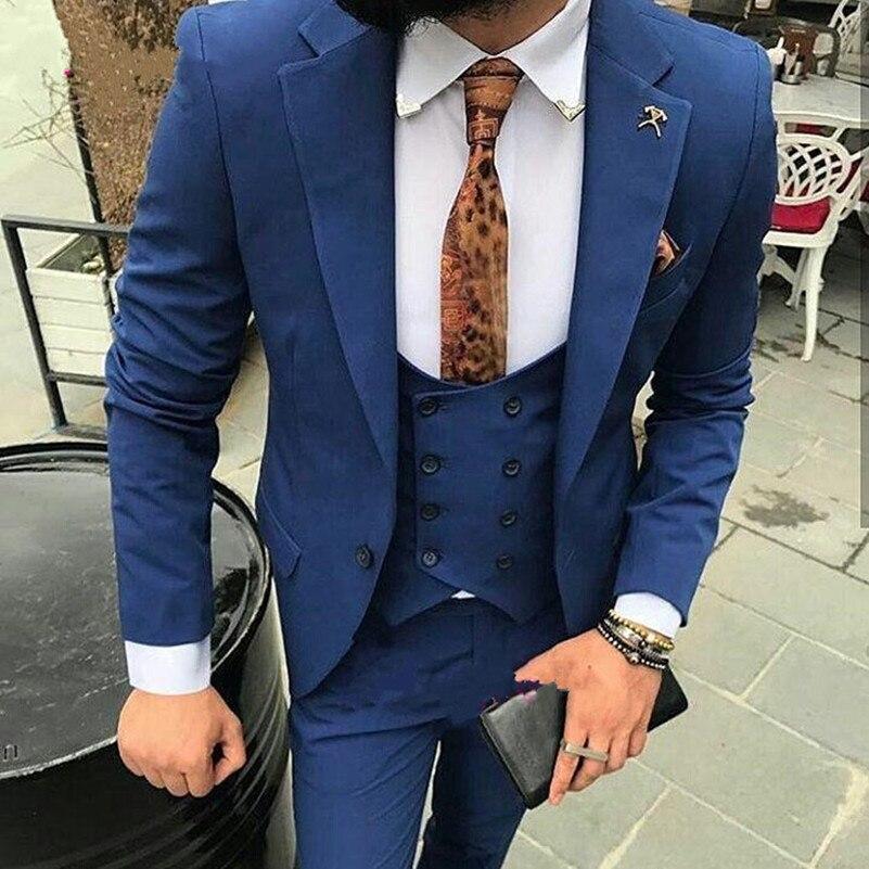 Navy Blau Bräutigam Smoking Für Hochzeit Tragen 2018 Erreichte Revers Eine Taste Maß Business Männer Anzüge Jacke Weste Hosen Terno