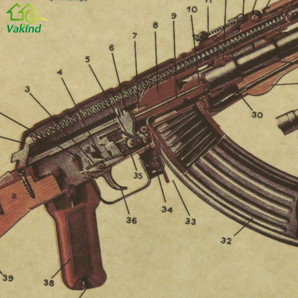 50 x 35cm Wall Sticker Vintage Retro AK47 Improved Structure ...
