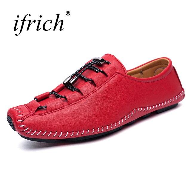 Ifrich nueva tendencia marca Mocasines hombre Encaje up leather casual Zapatos hombres verano otoño diseñador Zapatos hombres rojo plata hombres mocasines