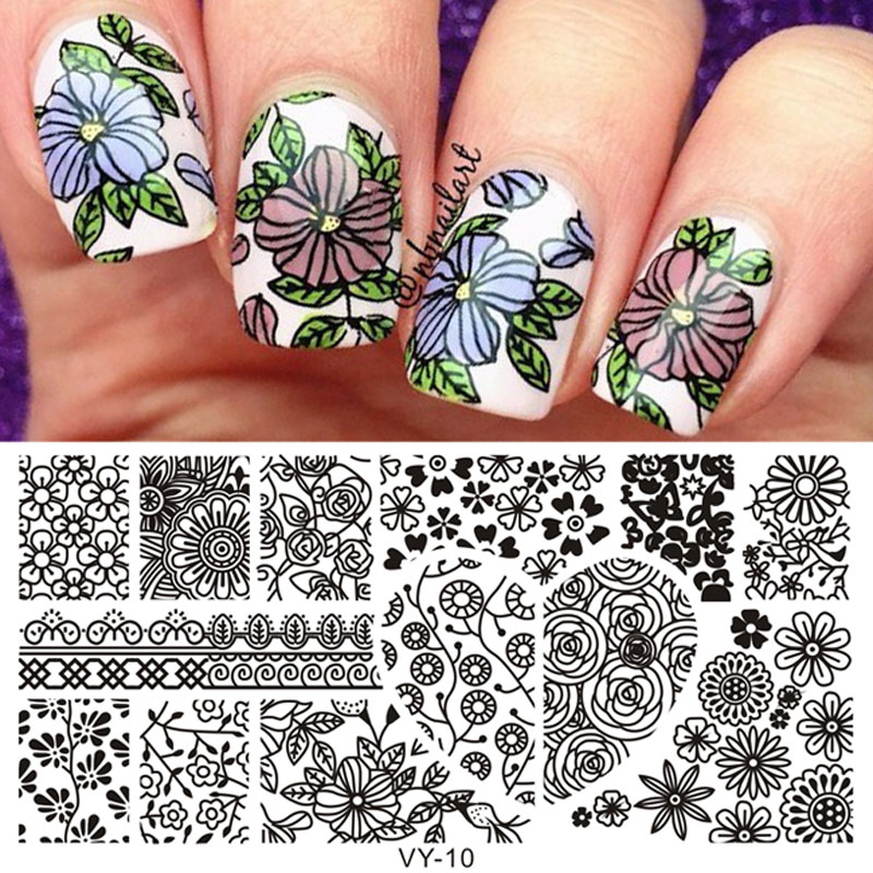 New Stamping DIY Nail Plates Polish Heart Fairy Pattern Rectangle Plate Stamp Template