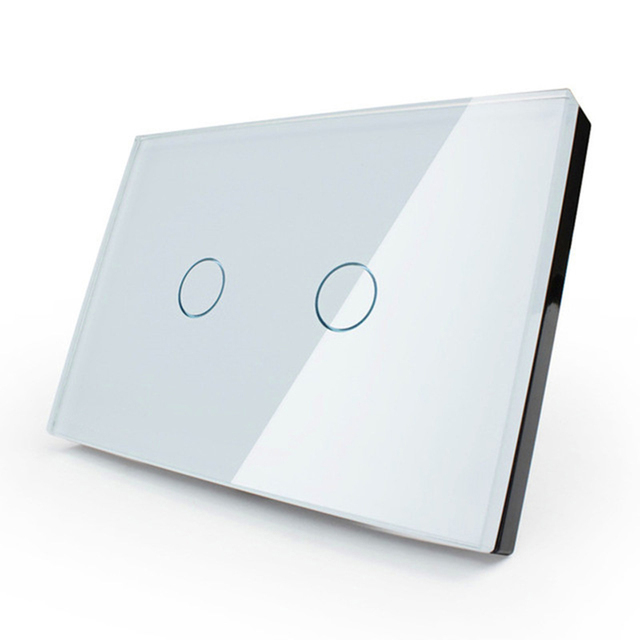 US Standard 2gang 1way Wall Touch Switch White Black Crystal Glass ...